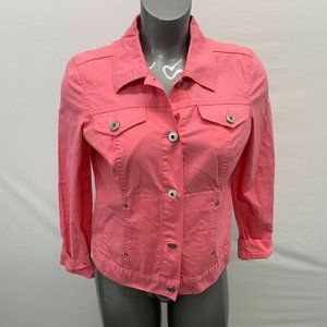 Baccini Casual Jacket Women's Medium Pink Cotton S